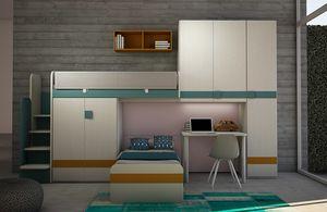Cool comp.18, Kid bedroom with loft bed and bridge wardrobe
