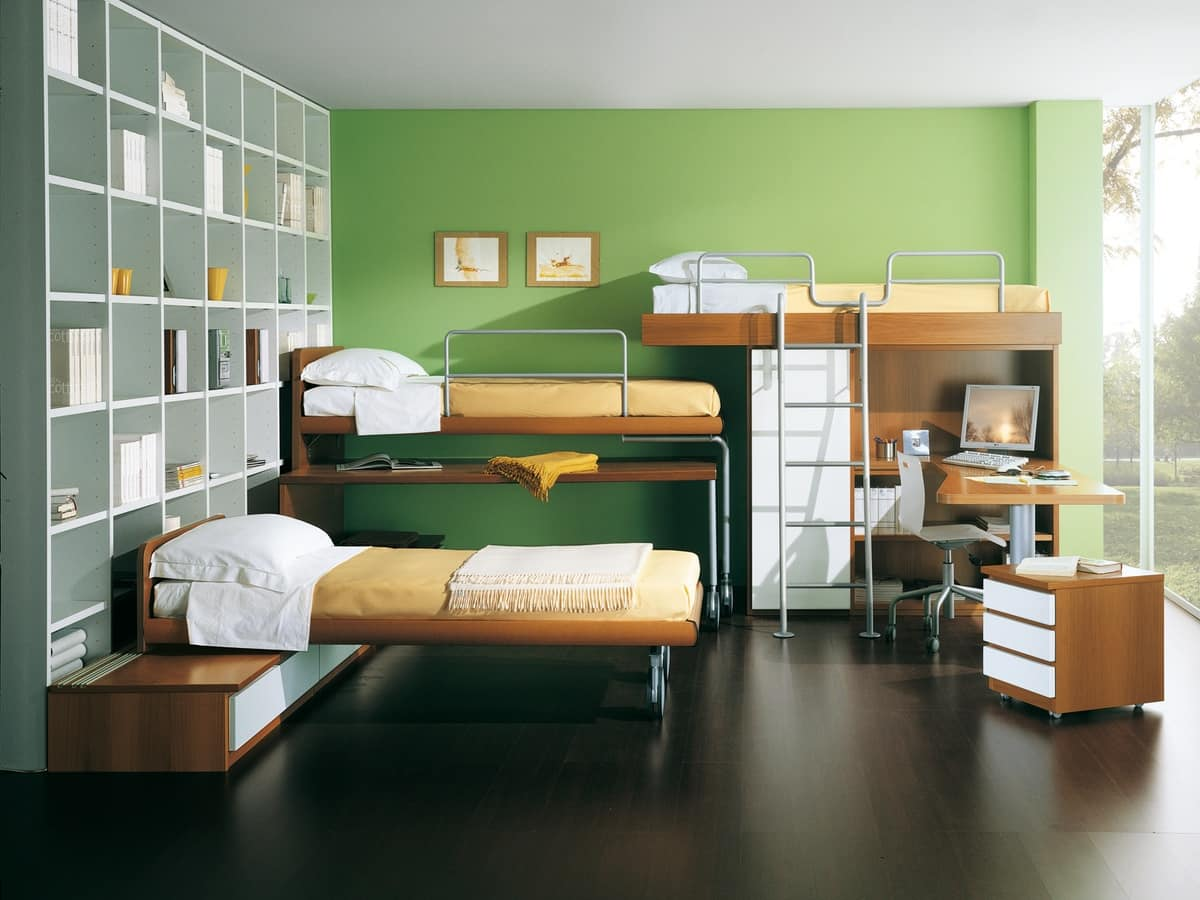 Kids Bedroom 04, Bedroom for children with bunk beds