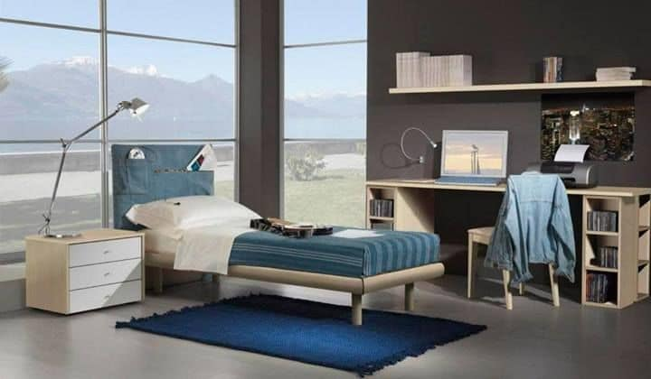 Kids Bedroom 15, Fully furnished room for kids, single bed, headboard in jeans with pockets
