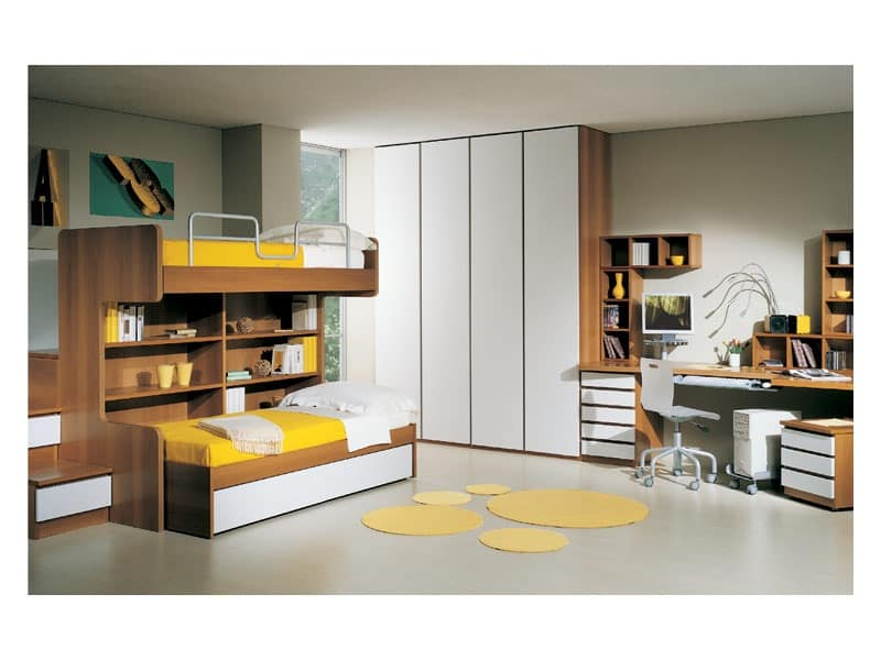 Furniture for kids room, with bunk beds, desk and wardrobe | IDFdesign
