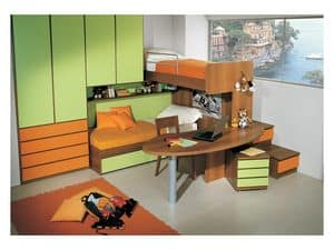 Kids Bedroom 3, Kid bedroom with double bed, desk included in the bunk structure, green and orange finish