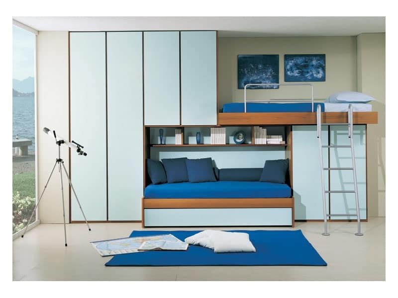 Bedroom with extractable second bed, bridge wardrobe, light ...