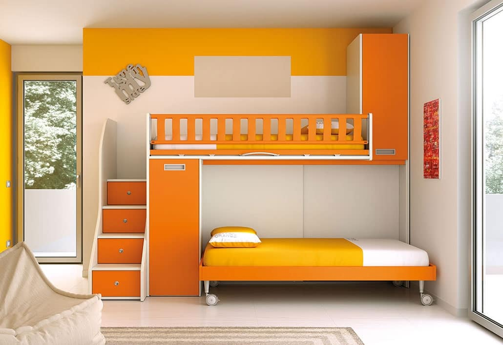 Picture of: Loft Bed With Ladder With Drawers Space Saving Idfdesign
