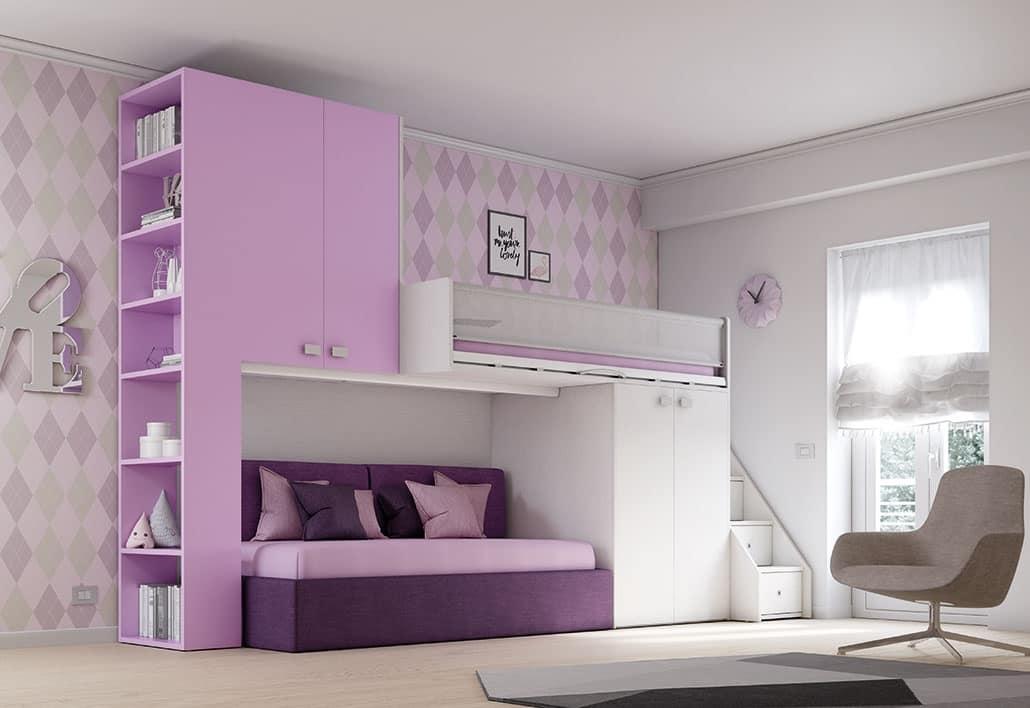 Loft Bed KS 203, Modular Loft Bed, Multi Functional And Secure