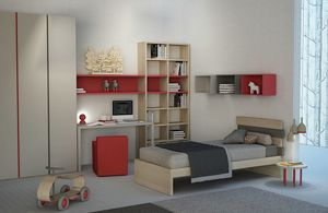 Natural comp.01, Kid bedroom with bookcase and wardrobe