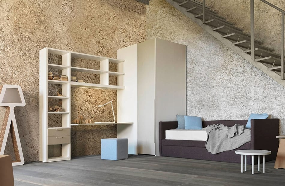 Natural comp.07, Bedroom with sofa bed containing a second bed