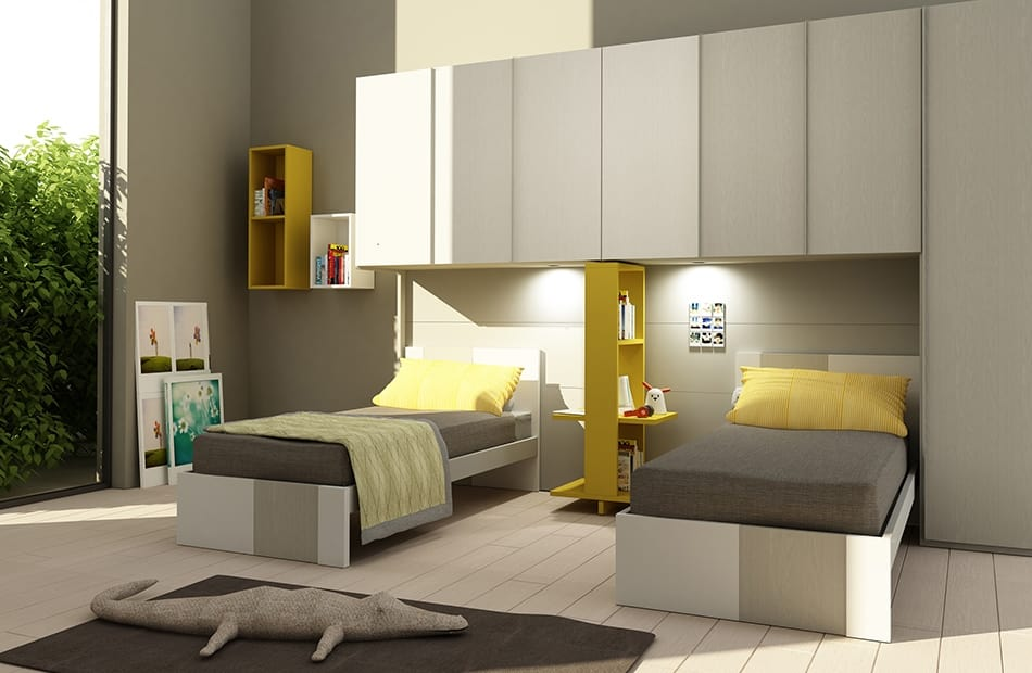 Natural comp.09, Kid bedroom with bridge wardrobe, for two beds
