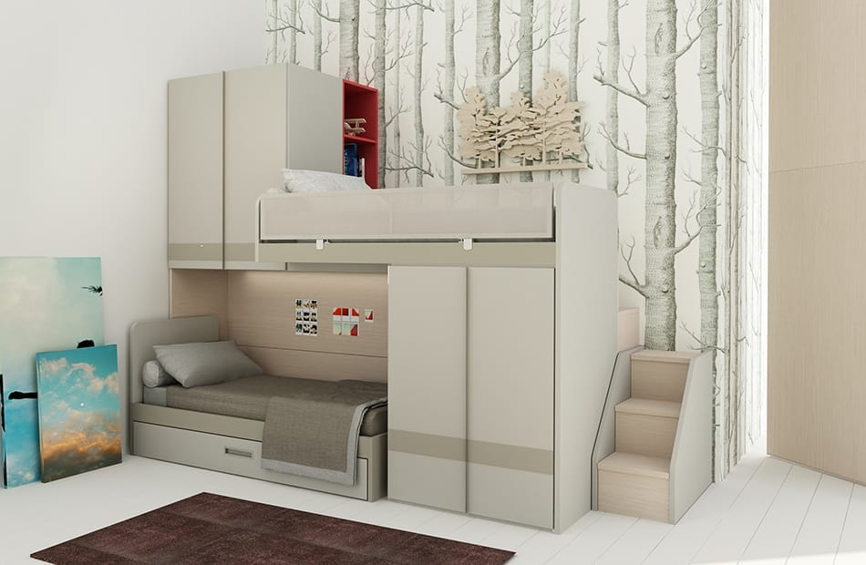 Natural comp.19, Space-saving bedroom with bunk beds