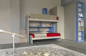 Natural comp.21, Bedroom with bunk bed and step storage unit