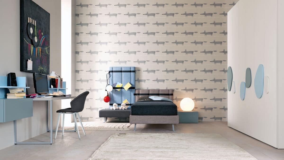 Modern children\'s bedroom with desk and single bed | IDFdesign