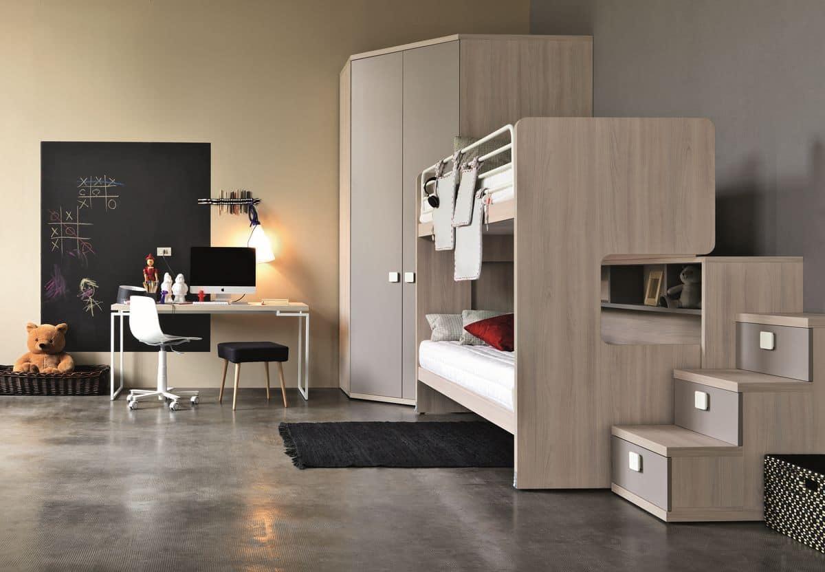 Comp. New 152, Children's bedroom, bunk bed with ladder