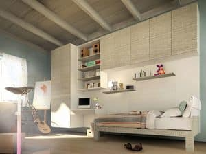 Peter Pan, Kid bedroom with hanged cabinets and desk, modern design