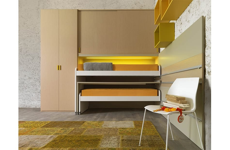 Warm comp.13, Kid bedroom with sliding beds and writing desk