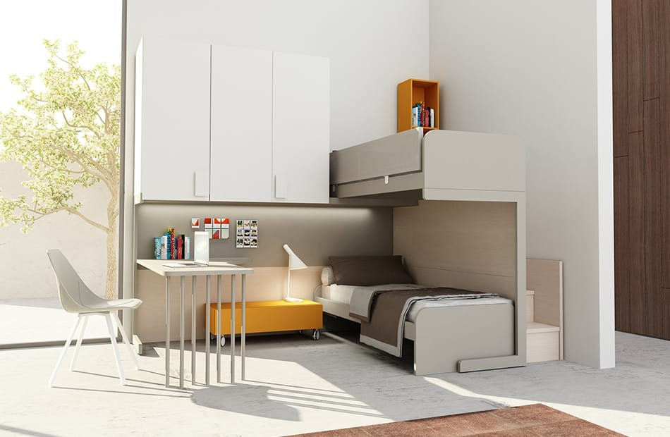 Warm comp.15, Corner kid bedroom with bunk bed