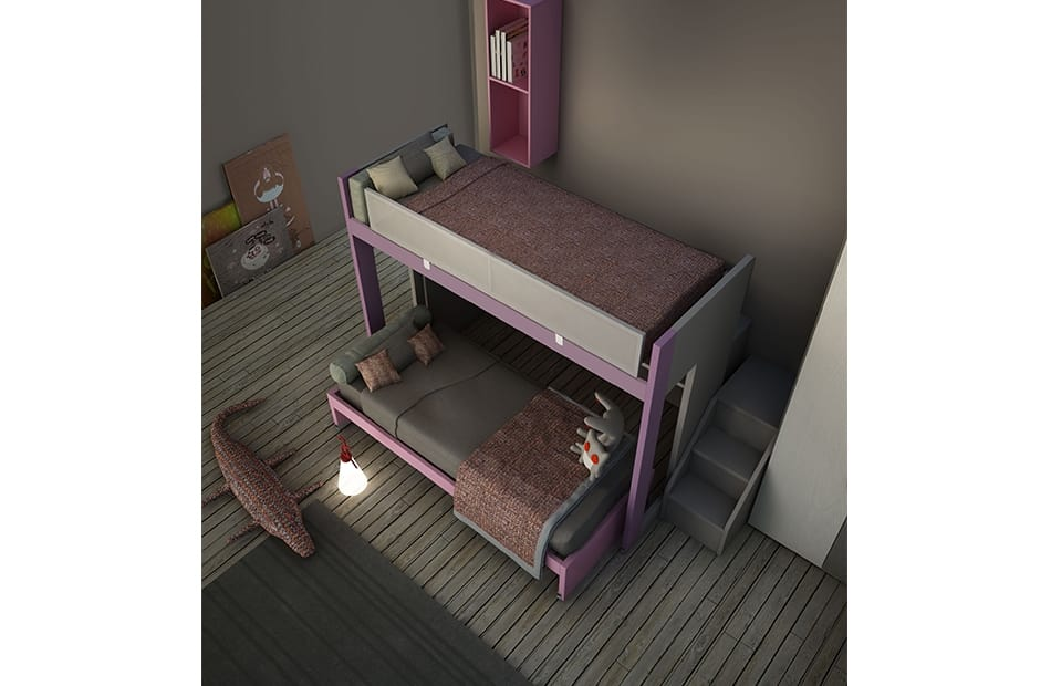 Warm comp.24, Bedroom for girls, with bunk bed