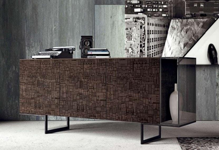 001 sideboard, Modern sideboard with silk-screened doors
