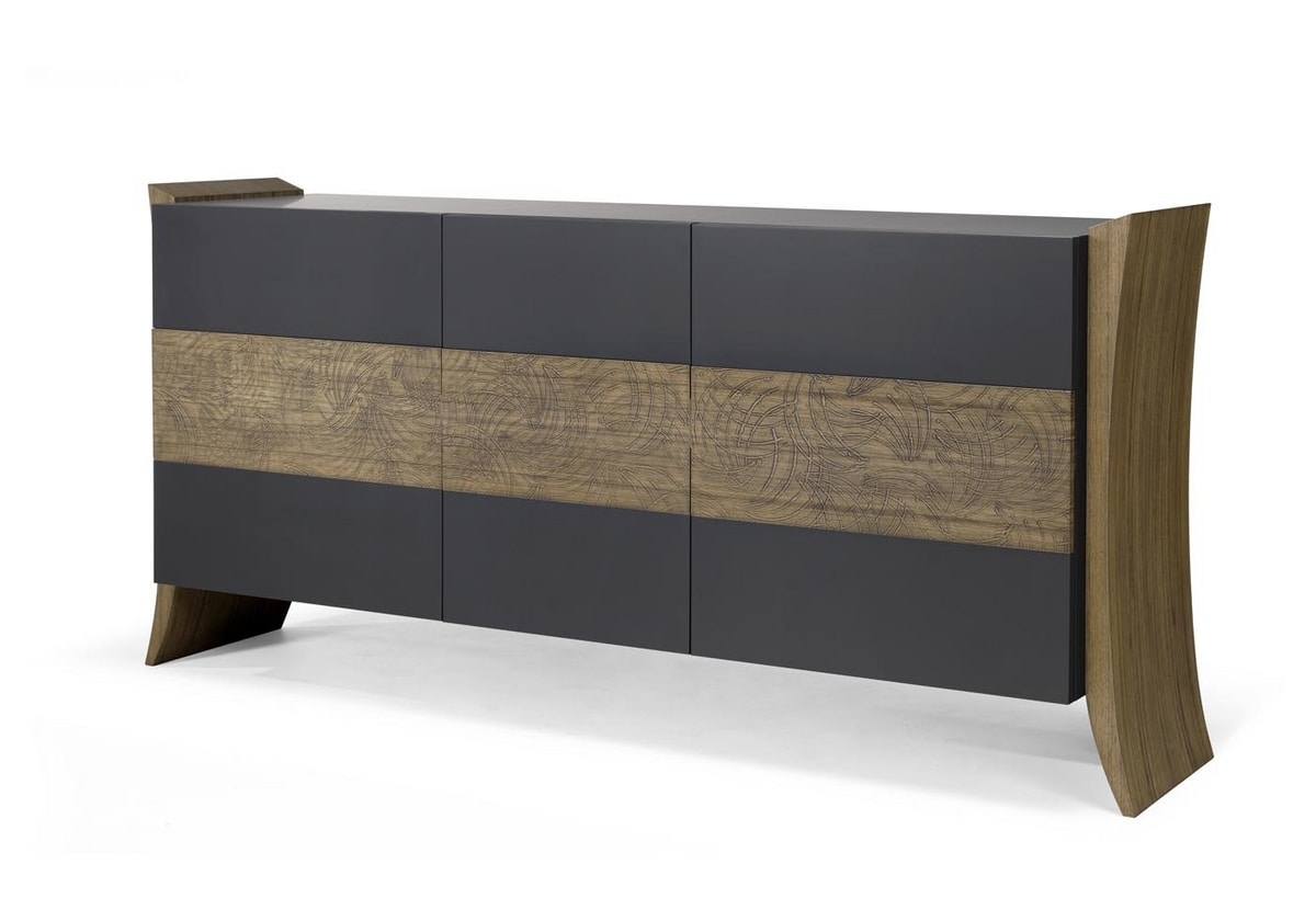 AN 113 B, Sideboard with 3 doors in contemporary style