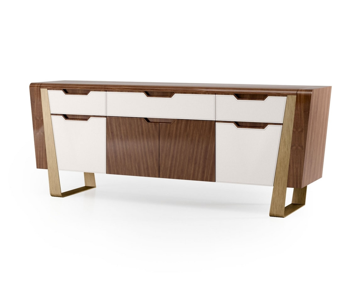 ART. 3428, Sideboard with leather doors