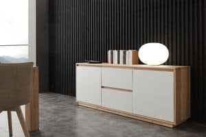 Art. 694MD Madia Factory, Sideboard with white lacquered fronts, for living room