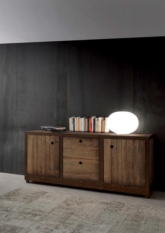 Art. 710MD Industrial Vintage Madia, Sideboard in solid fir wood, vintage style