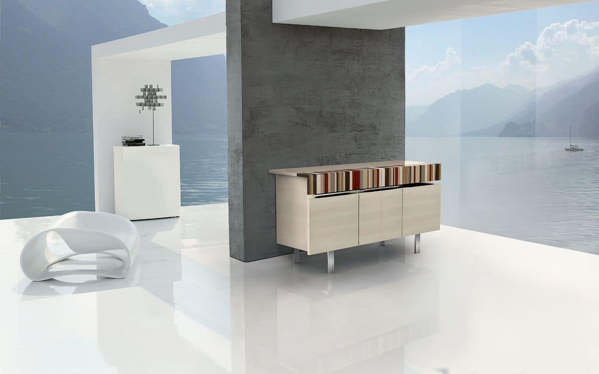 ATHENA 1.7 BC-ACERO, Wooden sideboard with fine woods inserts, suitable for a modern and stylish environments