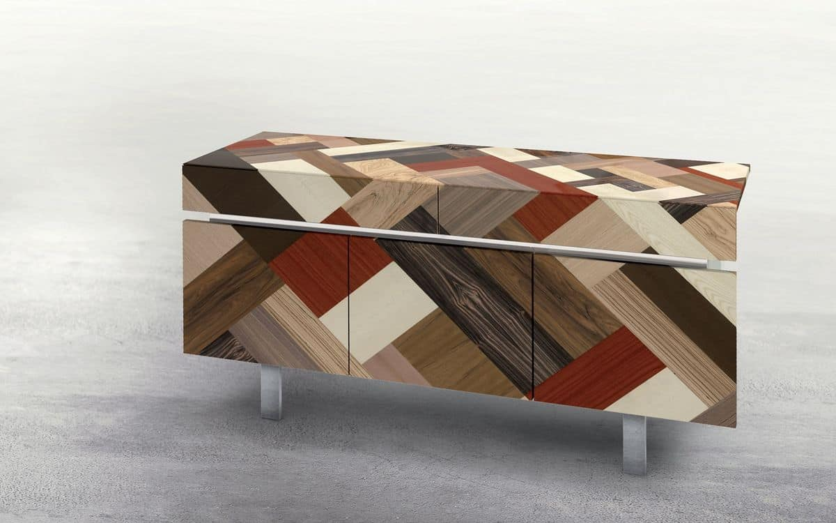 ATHENA 1.7 PW45, 3 doors sideboard, 2 drawers, inserts of various woods, ideal for modern environments