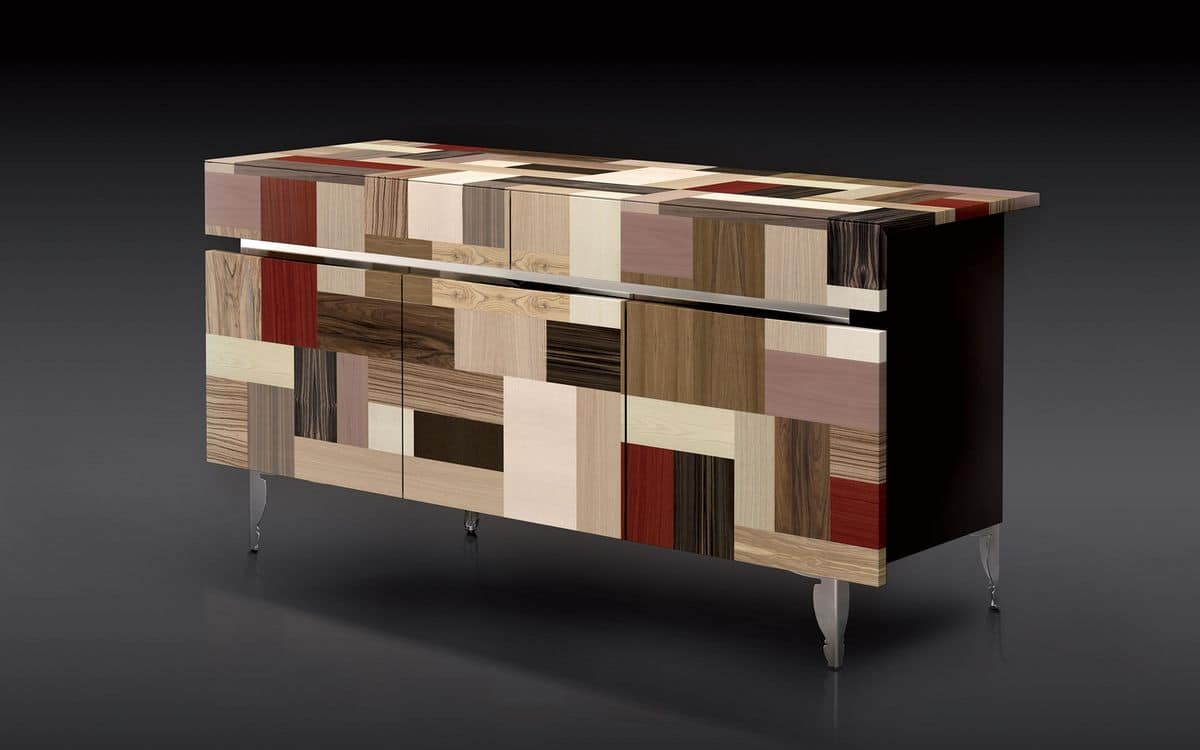 ATHENA 1.7 PW90 LA-BLACK, 3 doors sideboard, 2 drawers, high-value finishes, ideal for modern residential environment