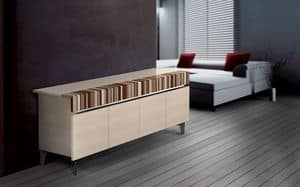 ATHENA 2.3 BC ACERO, Design sideboard, 4 doors, ideal for modern residential environment