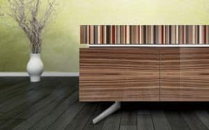 ATHENA 2.7 BC-ZEBRANO, Sophisticated sideboard, zebrano finish, 4 doors and 2 drawers