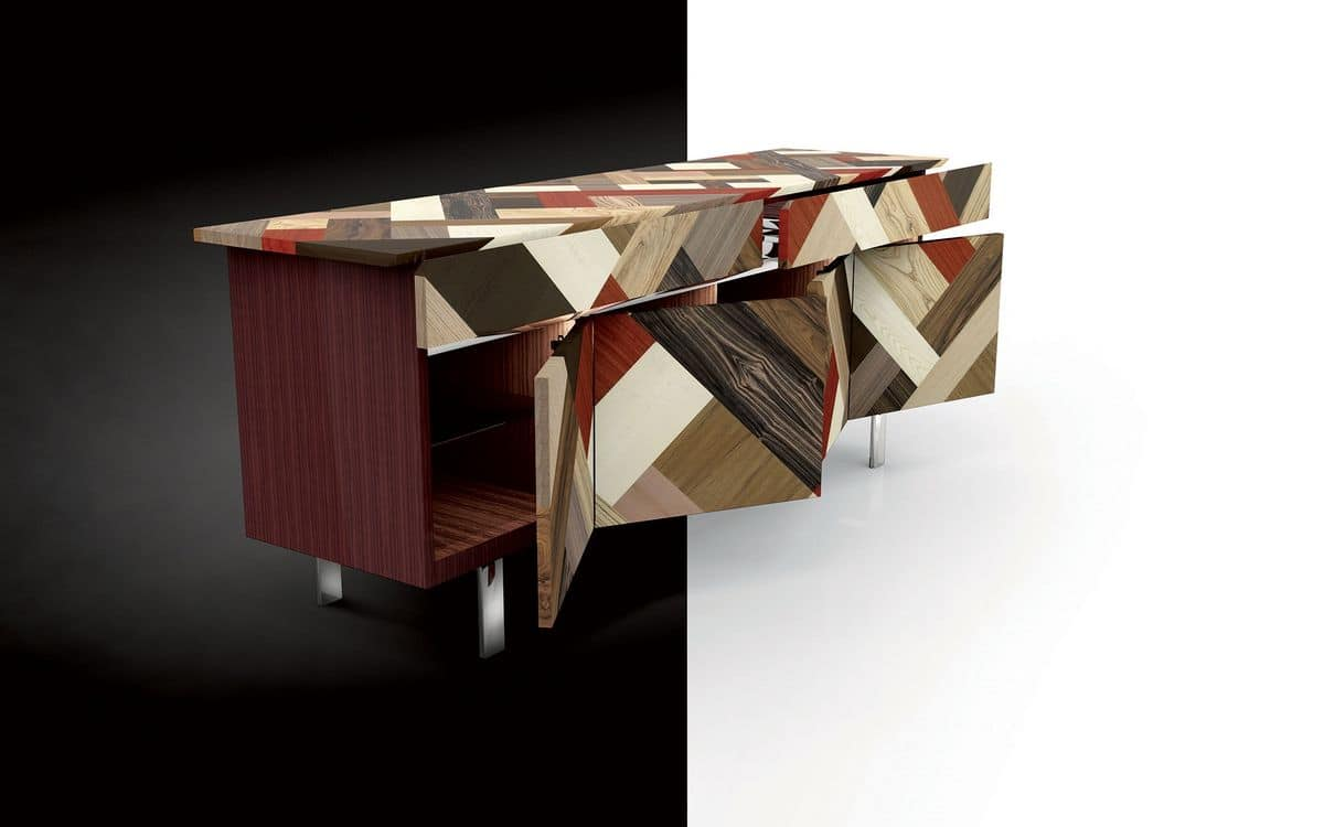 ATHENA 2.7 PW45 Palissandro, Sideboard in rosewood, covering in crossed wood essences, ideal for elegant environments