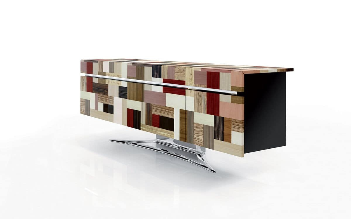 ATHENA 2.7 PW90 LA-BLACK, High design sideboard, handmade covering, glossy steel base