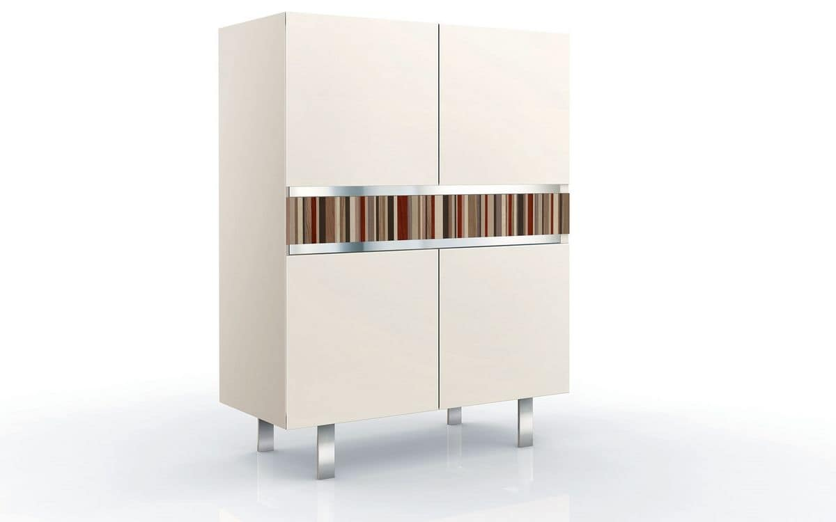 ATHENA QUADRA BC LA-CREAM, Vertical cupboard with 2 doors, ideal for elegant environments