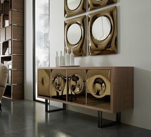 Bolle sideboard, Sideboard with mirror panels and Quader legs