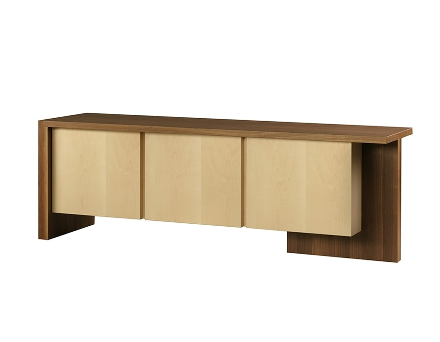 Cartesia 1780, Double-sided sideboard in canaletto walnut and maple