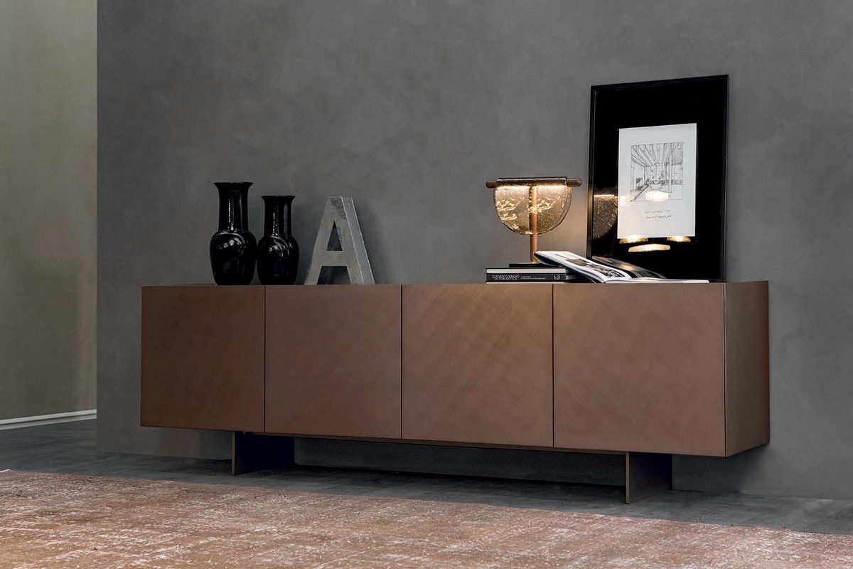 COATED, Sideboard in lacquered and brushed wood with metal base