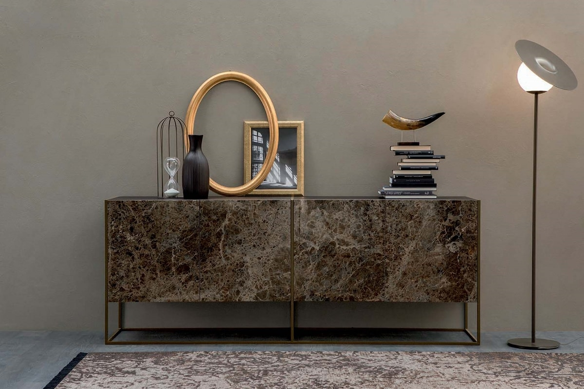 CORAL, Sideboard with hinged doors in porcelain stoneware and metal base