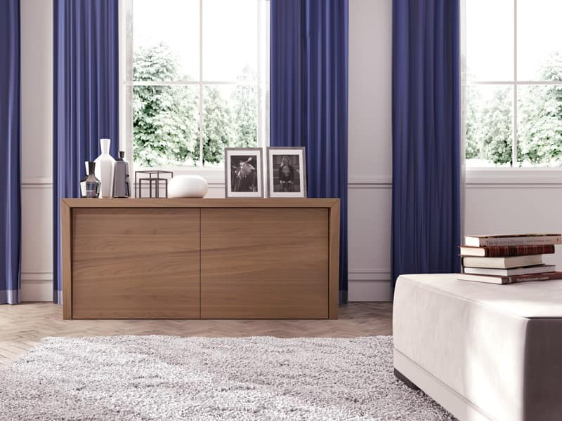 Cortina, Sideboard in Canaletto walnut, leather-covered doors