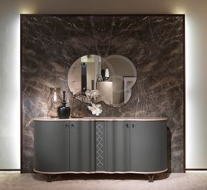 CR60B Mistral sideboard, Sideboard with sinuous lines, covered with leather