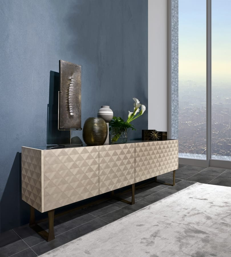 CR63 Square sideboard, Sideboard with black marble top