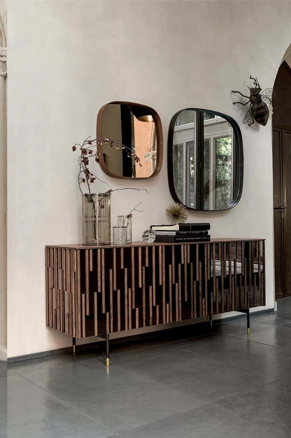 DROPS  programma, Cabinets with doors and sides mirror effect and wooden details