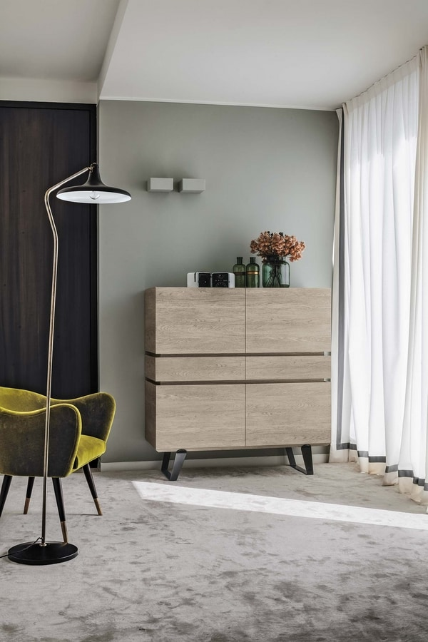 ELECTA QUADRA MA105, Laminate cupboard with 4 doors and 2 drawers, for dining halls