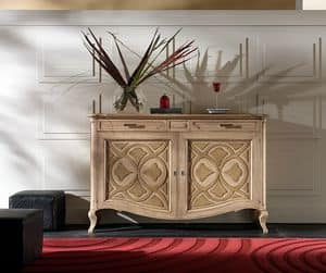 F 102, Sideboard in ash with antique silver trim