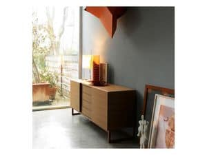 Fast, Wooden sideboard with sliding doors, modern style