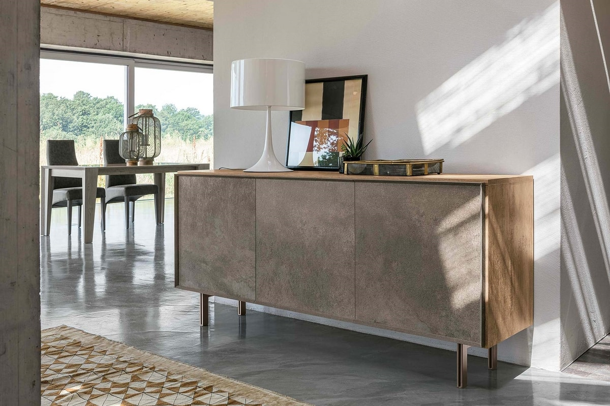GIUNONE MA112, Vintage sideboard with front inserts in stoneware