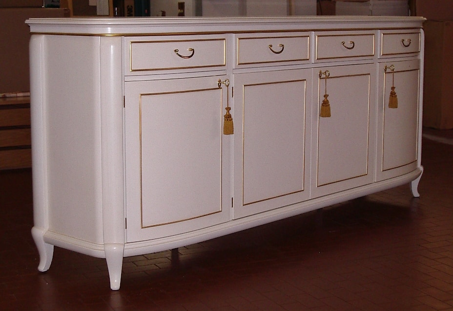 Hilton sideboard, Patinated ivory lacquered sideboard