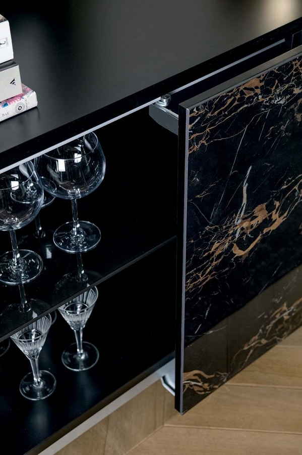 IDRA, Sideboard with coplanar doors in porcelain stoneware and metal base