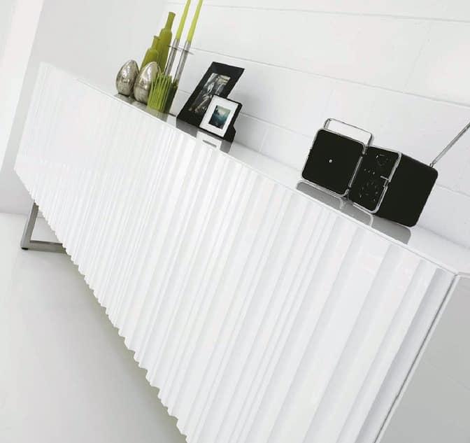 Incisa, Modern sideboard with hinged doors, chrome base