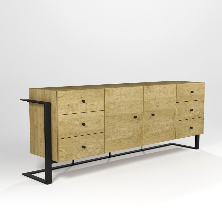 Kappa Due, Sideboard with hand-worked iron base