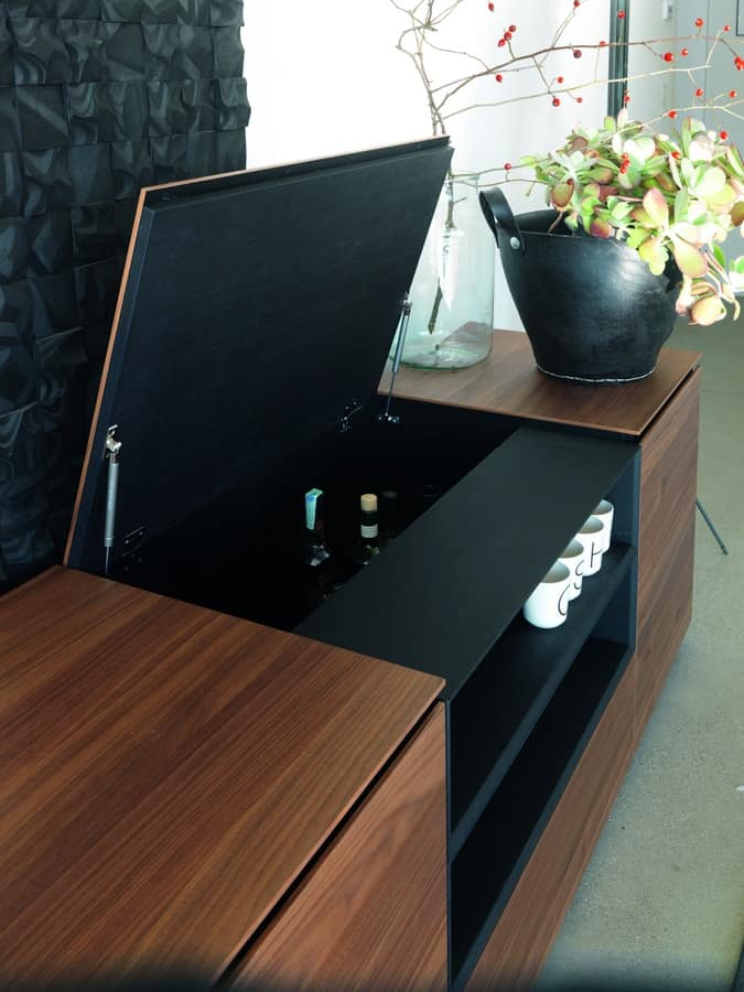 Cupboard In Walnut And Metal With Top Opening Idfdesign