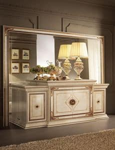 Leonardo buffet, Classic buffet, finished in gold leaf, 4 doors